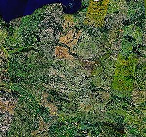 Mozaika zdj�� satelitarnych obszaru Polski wykonanych przez satelit� Landsat7.