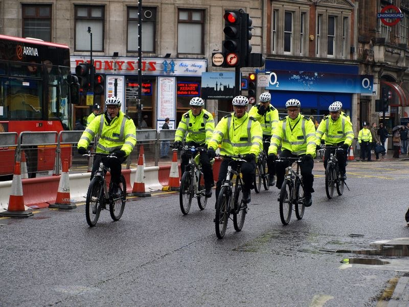 Police cyclists London Olympic Torch Relay