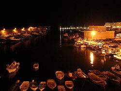 Ametlla de Mar harbour at night
