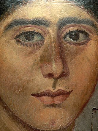 Antinopolis - Mummy portrait in encaustic from Antinoopolis.  The woman's hairstyle recalls portraits of Sabina, wife of the emperor Hadrian. 2nd Century. Louvre collection.