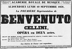 Poster for 1st performance (10 Sept 1838) of Benvenuto Cellini by Berlioz - Holoman p191.jpg