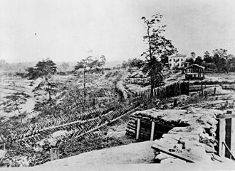Atlanta in the American Civil War - Palisades and chevaux de frise in front of the Ponder House, Atlanta, Georgia, 1864