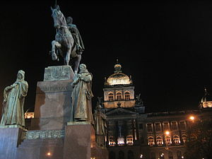 Wenceslas Square - Wenceslas Monument and National Museum, at night