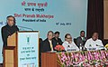Pranab Mukherjee delivering the 85th Foundation Day Lecture of ICAR, in New Delhi. The Union Minister for Agriculture and Food Processing Industries, Shri Sharad Pawar.jpg