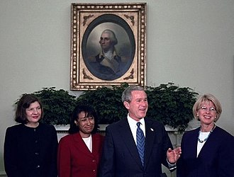 Janice Rogers Brown - Brown with President George W. Bush, Priscilla Owen, and Carolyn Kuhl in 2003