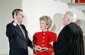 President Ronald Reagan Being Sworn in for a Second Term by Chief Justice Warren Burger as Nancy Reagan Observes during the Private Ceremony at the White House.jpg