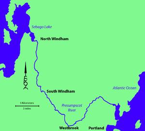 Presumpscot River - Image: Presumpscot River Map