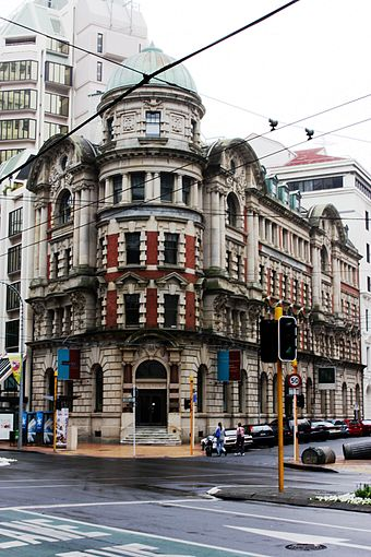 The old Public Trust Building in Lambton Quay is an example of Edwardian architecture in Wellington, built entirely from granite. Public Trust Office Building, Wellington 6146.jpg