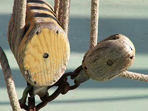 Pulley - Pulleys on a ship. In this context, pulleys are normally known as blocks.