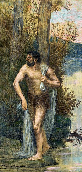 Rhône - Personification of the Rhône by Pierre Puvis de Chavannes, 1883-1886, National Museum in Warsaw, a study for decoration of the stairwell in the new wing of the Palace of Fine Arts in Lyon, a city at the confluence of the Saône and Rhône rivers