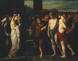 Pylades and Orestes Brought as Victims before Iphigenia 1766 Benjamin West.jpg