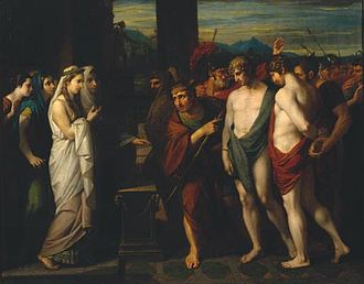Oreste - Pylades and Orestes Brought as Victims before Iphigenia 1766 Benjamin West