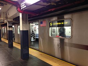 Fulton Street (New York City Subway) - An R142 in 5 service at Fulton Street, bound for  Bowling Green.