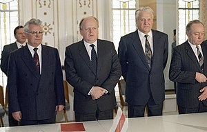 Stanislav Shushkevich - Stanislav Shushkevich at the signing of the Belavezha Accords with Leonid Kravchuk and Boris Yeltsin in 1991