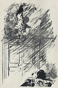 """Illustration by Édouard Manet for a French translation by Stéphane Mallarmé of Edgar Allen Poe's """"The Raven""""."""