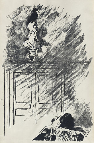 The Raven - The raven perches on a bust of Pallas Athena, a symbol of wisdom meant to imply the narrator is a scholar. Illustration by Édouard Manet for Stéphane Mallarmé's translation, Le Corbeau (1875).