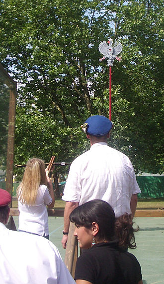 """Popinjay (sport) - Traditional shooting at a wooden eagle with a crossbow at the """"Rutenfest Ravensburg"""", Germany"""