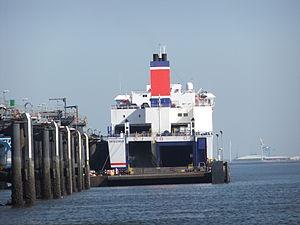 Rear of ropax ferry at Twelve Quays, Birkenhead.jpg