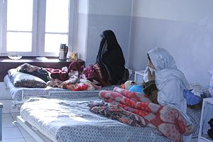 Health in Afghanistan - Mothers and infants receiving health care at a hospital in Kabul.