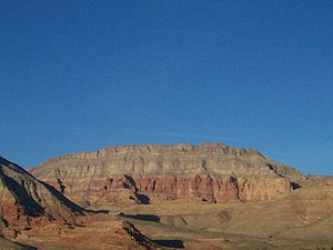 Interstate 15 - I-15 passes through the Virgin River Gorge, Arizona revealing scenic reddish brown cliffs.