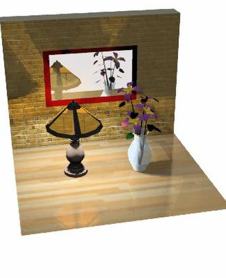 Reflection (computer graphics) - Ray traced model demonstrating specular reflection.