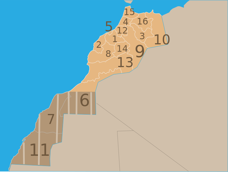 Regions of Morocco including Western Sahara.svg