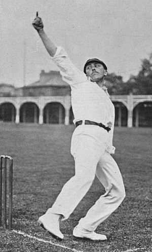 Wilfred Rhodes - Wilfred Rhodes bowling in a photograph taken by George Beldam in 1906