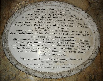 Richard Hakluyt - A 1910 memorial tablet to Hakluyt in Bristol Cathedral