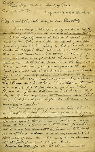 Richard Barrett (Irish republican) - Image: Richard Barrett, IRA, page 1 of letter written prior to execution, 1922