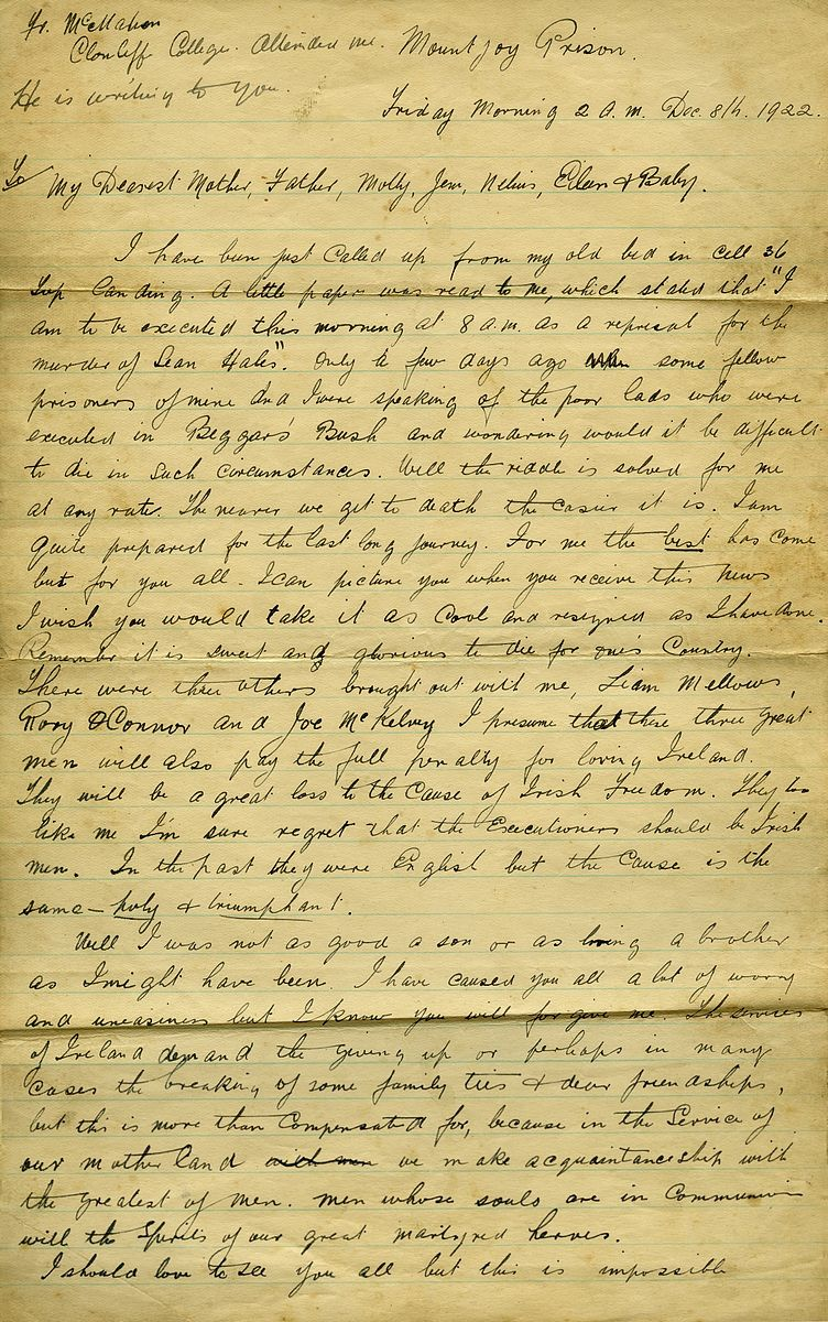 Richard Barrett, IRA, page 1 of letter written prior to execution, 1922.jpg