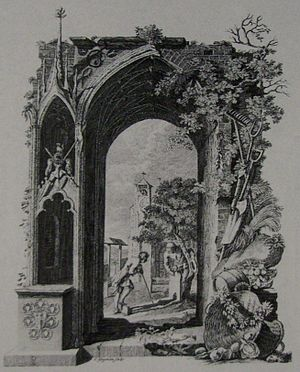 Richard Bentley (writer) - Richard Bentley, 1753 design for Thomas Gray's Elegy in a Country Churchyard