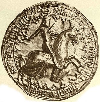 Richard, 1st Earl of Cornwall - Seal of Richard, Earl of Cornwall, recto. On his shield he displays the Royal arms of England