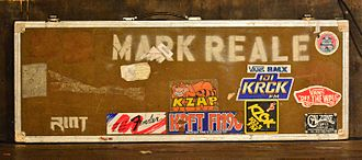Mark Reale - Guitar Case by Mark Reale on stage at the appearance of Riot V at Headbangers Open Air 2014