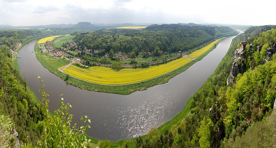 View of the Elbe in Saxon Switzerland, an area in Germany.