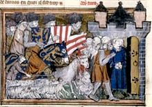 A captive man is taken to the open gate of a fortress; a flock of sheep