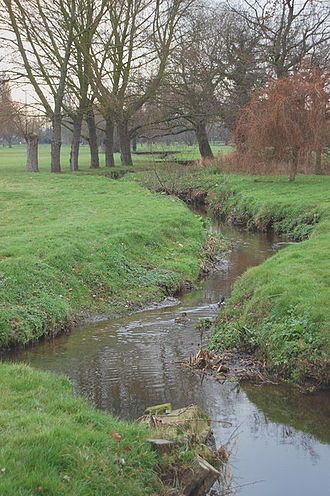 River Roach - Noblesgreen Ditch flowing through Rochford Hundred Golf Course