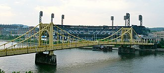 PNC Park - The 6th Street Bridge was renamed the Roberto Clemente Bridge in honor of the former Pirate.