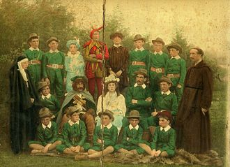 Wellingborough School - The cast of Colin McAlpin's opera Robin Hood, at Wellingborough School, ca.1885