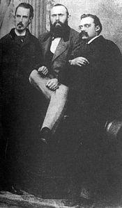 Mid October, 1871. Left to right: Erwin Rohde, Carl von Gersdorff and Friedrich Nietzsche.