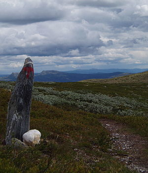 Rondane National Park - Red T-markings show the way on marked trails.