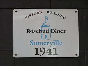 Rosebud (diner) - The historic marker sign on the face of the Rosebud Diner