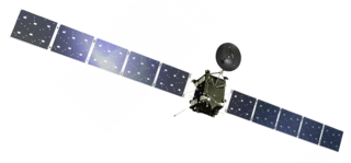 Artist's rendering of the ESA Rosetta spacecraft in its in-flight configurationNASA illustration, from https://en.wikipedia.org/wiki/File:Rosetta_spacecraft_model.png 320px-Rosetta_spacecraft_model.png