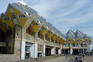 Rotterdam Blaak station - The Cube Houses in Rotterdam viewed from Blaak Subway Station.