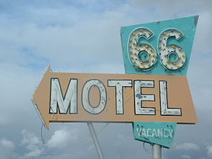 66 Motel (Needles) - 66 Motel neon sign before restoration