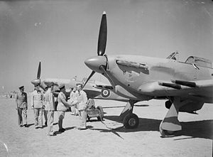 """MacRobert baronets - HL735 """"The MacRobert Fighter – Sir Roderic"""" being handed over to No. 94 Squadron RAF at El Gamil, Egypt"""