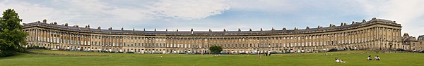 Panorama o'r Royal Crescent, Caerfaddon