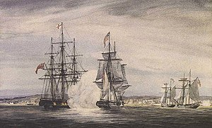 USS Oneida (1809) - Depiction of the engagement of  the Oneida and Royal George in Kingston harbour, 10 November 1812.