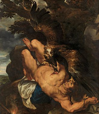 Flemish Baroque painting - Peter Paul Rubens and Frans Snyders, Prometheus Bound, 1611-12. Philadelphia Museum of Art. This painting is Flemish Baroque example of collaboration and specialization. Snyders, who specialized in animals, painted the eagle while Rubens painted the figure of Prometheus.