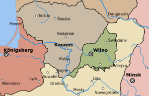 Republic of Central Lithuania - Territory of the Republic of Central Lithuania (green).