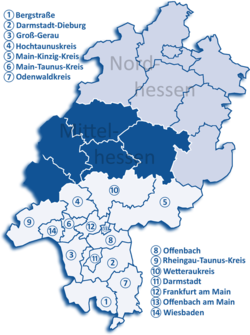 Map of Hesse highlighting the  Regierungsbezirk of Darmstadt